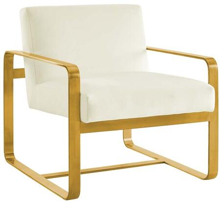 Astute Collection EEI-3070-IVO Armchair with Dense Foam Padding  Solid Wood Frame  Modern Style  Gold Stainless Steel Base and Stain-Resistant Velvet
