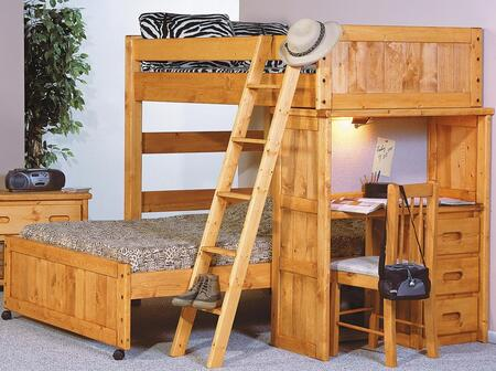 3544742-4737 Twin Over Full Loft Bed with Desk End in Cinnamon (354790 chair sold