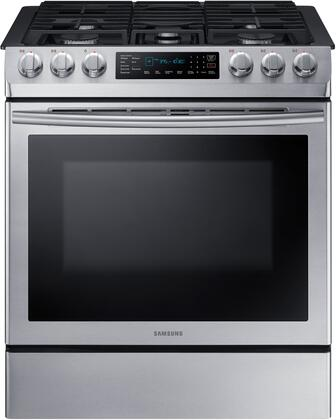"NX58M9420SS 30"" Slide-In Gas Range with 5.8 cu. ft. Capacity  5 Burners  Fan Convection  Wi-Fi Connectivity  and Griddle  in Stainless"