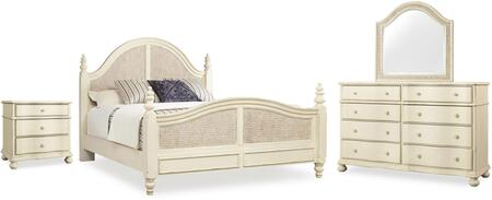 5900-KWPB3DNMD 4-Piece Sandcastle Collection Bedroom Set with King Size Panel Woven Bed + 3 Drawers Nightstand + Mirror + Dresser  in Couture