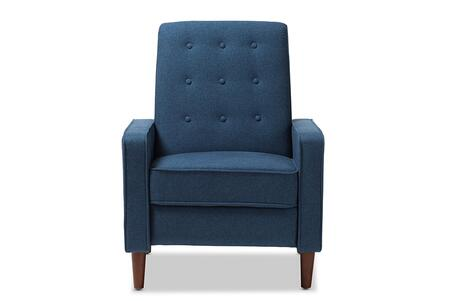 Baxton Studio Mathias Mid-century Modern Blue Fabric Upholstered Lounge Chair/Mid-Century/Blue/Fabric Dacron 100%/Eucalyptus Wood/HDF/Foam