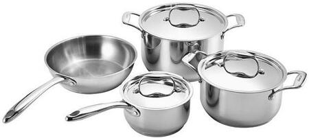 ADCW7S 7 Piece Signature Gourmet Cookware Collection with Aluminum and Stainless Steel Construction for Increased Heat