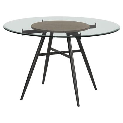 Davis Collection LCDADIMFGWBS Contemporary Round Dining Table in Mineral Finish with Clear Tempered Glass