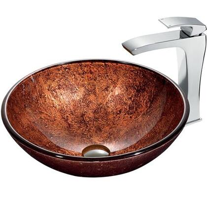 VGT179 Mahogany Moon Vessel Sink in Copper with Chrome