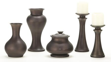 Nidra A2C00048 5 Piece Table Accessories Set With Large Candle Holder  Small Candle Holder  Large Vase  Small Vase and Jar In Matte Brown