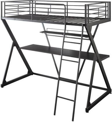 Zazie Collection 37138 Twin Size Loft Bed with Reversible Ladder  Easy Access Guardrail  Bookshelf and Metal Tube Construction in Sandy Black