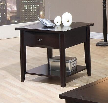 700967 Whitehall End Table with Shelf  One Drawer  Metal Knob  Smooth Tops and Straight Edges in Cappuccino