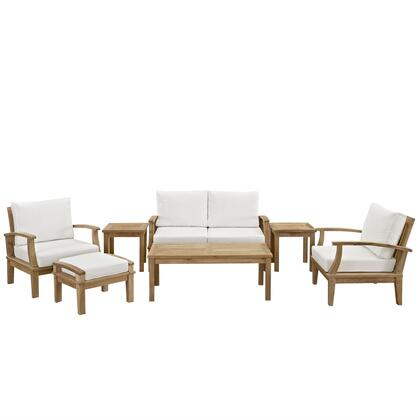 Marina Collection EEI-1486-NAT-WHI-SET 7-Piece Outdoor Patio Teak Sofa Set with Loveseat  Ottoman  Rectangle Coffee Table  2 Armchairs and 2 Side Tables in