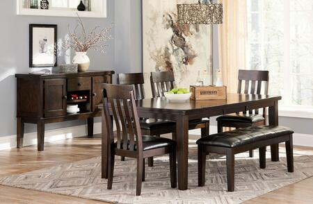 Haddigan 7-Piece Dining Room Set with Extendable Table  4 Side Chairs  Upholstered Bench and Server Cabinet in Dark Brown