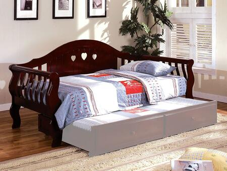 Charlotte Collection CM1625CH-BED Twin Size Daybed with Camel Style Curved Back  Heart-Shape Cutouts  Solid Wood and Wood Veneer Construction in Cherry