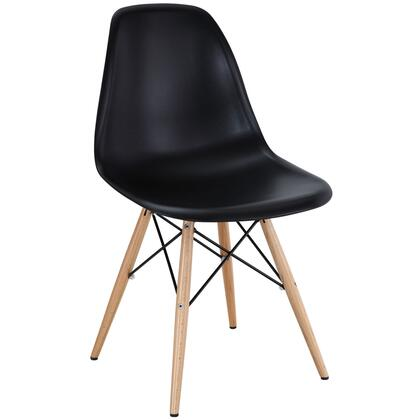 Pyramid Collection EEI-180-BLK Dining Side Chair with Non-Marking Feet  Solid Beech Wood Tapered Legs  Acrylonitrile Butadiene Styrene (ABS) Plastic Seat and
