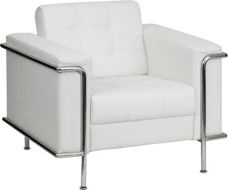ZB-LESLEY-8090-CHAIR-WH-GG HERCULES Lesley Series Contemporary White Leather Chair with Encasing