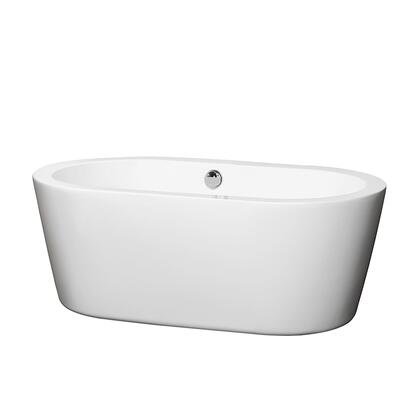 WCOBT100360BNTRIM 60 in. Center Drain Soaking Tub in White with Brushed Nickel