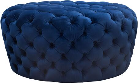 "Posh_Collection_POSHOTNV_36""_Round_Accent_Ottoman_with_Plush_Velvet_Upholstery_and_Button_Tufting_in_Navy"