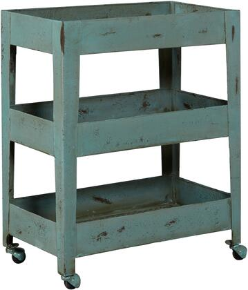 DS-D051010 Distressed Mesh Shelf Metal Trolley Cart with Casters  Iron Construction and Three Mesh Bottom Shelves in