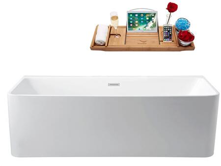 N44059FSWHFM 59 inch  Soaking Wall Adjacent Apron Tub with Internal Drain  Chrome Color Drain Assembly  175 Gallons Water Capacity  and Acrylic/Fiberglass