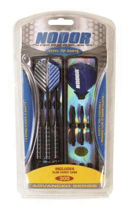 STA300 Steel Dart Set with 3 Striped Metallic Coated Barrels  6 Nylon Shafts  6 Embossed Foil Flights  and Slim Carry