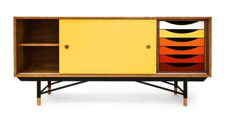 STO-SB-THEORY-NATYEL 1955 Color Theory Mid-Century Modern Sideboard Credenza  Natural Ash/Yellow
