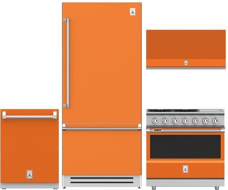 4-Piece Orange Kitchen Package with 36