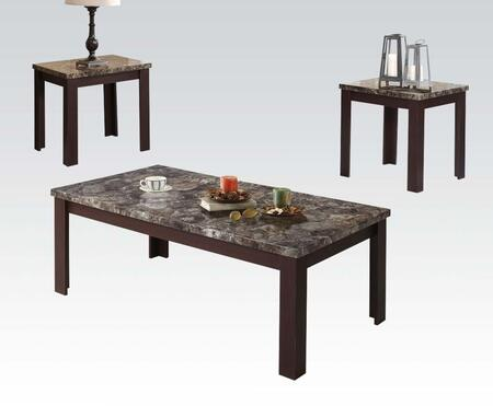 Carly Collection 81402 3 PC Living Room Table Set with Coffee Table  2 End Tables  Faux Marble Top  Rectangular Shape and Medium-Density Fiberboard