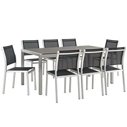 Shore Collection EEI-2583-SLV-BLK-SET 9-Piece Outdoor Patio Aluminum Dining Set with 8 Side Chairs and Dining Table