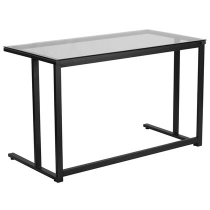 NAN-WK-055-GG Glass Desk with Black Pedestal