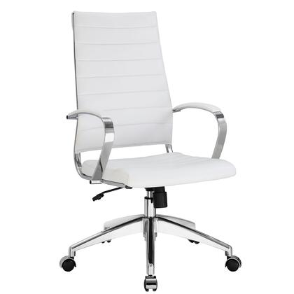 Jive Collection EEI-272-WHI Office Chair with 5-Caster Dual Wheel Base  Padded Arms  Chrome-Plated Aluminum Frame  Tilt Lock Tension Control  Adjustable Height