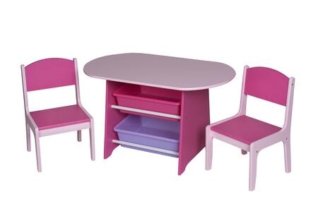 3040P Children'S Oval Table W 2 Chairs  And 2 Storage Bins -