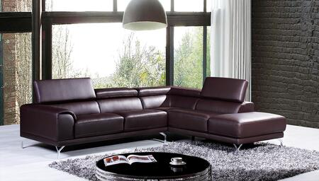 VGKNK8214-TOP-BRN-RAF Divani Casa Wisteria Sectional Sofa with Adjustable Headrests  Chrome Plated Metal Legs and Top Grain Leather/Leather Split Upholstery in