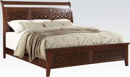 Carmela Collection 24777EK King Size Bed with Wood Grid Wicker Pattern  Low Profile Footboard  Sleigh Headboard and Wood Construction in Walnut