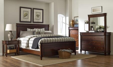 Aryell 4906kpbntdm 4-piece Bedroom Set With King Panel Bed  Night Table  Dresser And Mirror In Autumn Cherry