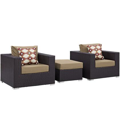 Convene Collection EEI-2363-EXP-MOC-SET 3-Piece Outdoor Patio Sofa Set with Ottoman and 2 Armchairs in Espresso and