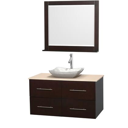 Wcvw00942sesivgs3m36 42 In. Single Bathroom Vanity In Espresso  Ivory Marble Countertop  Avalon White Carrera Marble Sink  And 36 In.