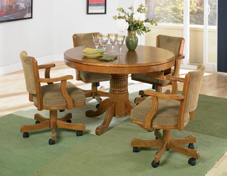 Mitchell 100951TC 5 PC Game Room Set with Game Table + 4 Arm Game Chairs in Amber 713072