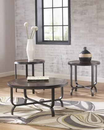 Ferlin Collection T238-13 3-Piece Occasional Table Set with Coffee Table and 2 End Tables in Dark