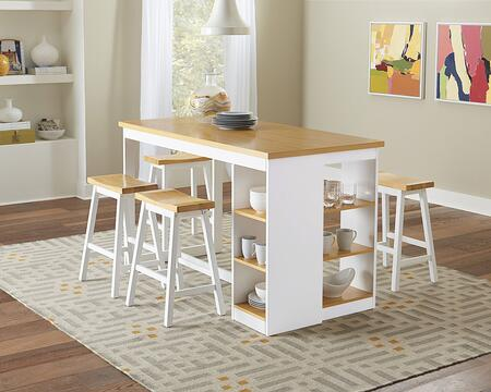 Christy Collection D878-RECTSCT4BS 5-Piece Dining Room Sets with Rectangular Counter Height Storage Table and 4 Bar Stools in Oak and