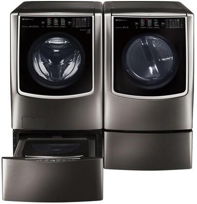 Black Stainless Steel Washer and Dryer Package with WM9500HKA Washer  DLGX9501K Gas Dryer  WDP5K Pedestal  WD205CK SideKick Washer Pedestal and AS401WWA1 Air