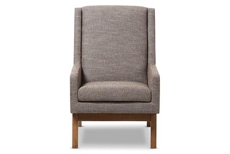 BBT5253-GRAVEL-CC-TH1308 Baxton Studio Aberdeen Mid-Century Modern Walnut Wood Finishing and Gravel Fabric Upholstered Lounge