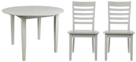 Everyday Classics Collection 163942LSET 3 PC Dining Room Set with Round Extendable Table + 2 Ladder Back Chairs in Dove