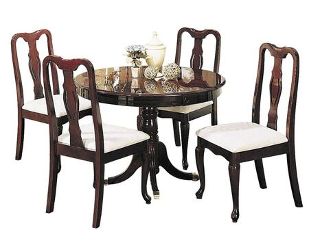 Queen Anne Collection 06005 5 PC Dining Room Set with Round Table  4 Side Chairs  Fabric Upholstery  Pedestal Base and Queen Anne Front Legs in Cherry