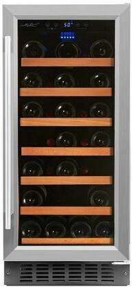 RW88SR 15 inch  Single Zone Wine Cooler with 34 Bottle Capacity  Low Profile Wood Accented Wine Shelf  Double Paned UV Shielded Glass Door with Stainless Steel
