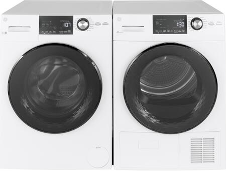 White Compact Frontload Washer with Steam and Dryer Pair with GFW148SSMWW Washer and GFT14ESSMWW Electric