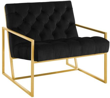 Modway EEI-3073-BLK Bequest Gold Stainless Steel Upholstered Velvet Accent Chair Black