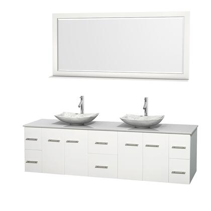 WCVW00980DWHWSGS6M70 80 in. Double Bathroom Vanity in White  White Man-Made Stone Countertop  Arista White Carrera Marble Sinks  and 70 in.