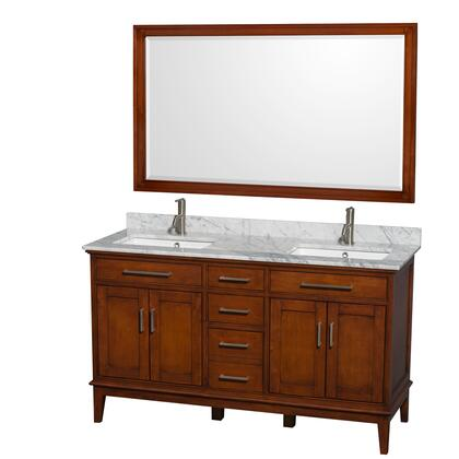 Wcv161660dclcmunsm56 60 In. Double Bathroom Vanity In Light Chestnut  White Carrera Marble Countertop  Undermount Square Sinks  And 56 In.
