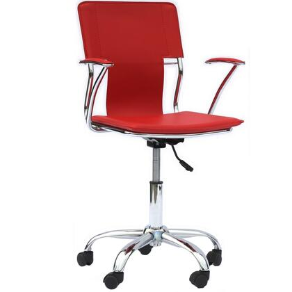 Studio Collection EEI-198-RED Office Chair with Adjustable Height  Casters  Modern Style  Tension Control Knob  Aerodynamic Arms  Chrome Plated Steel Base and