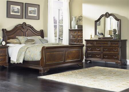 Highland Court Collection 620-BR-QSLDMC 4-Piece Bedroom Set with Queen Sleigh Bed  Dresser  Mirror and Chest in Rich Cognac