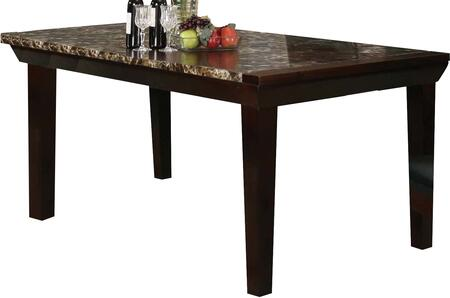 Denzil Collection 70786 72 inch  Dining Table with Faux Marble Top  Tapered Legs  Apron and Wood Construction in Espresso