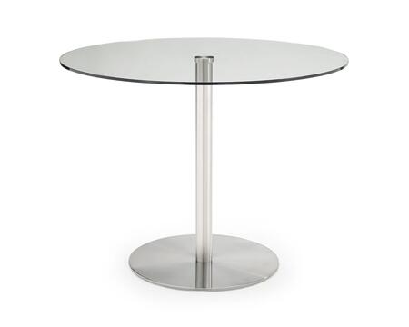 DT1426 Dia Round Dining Table  7/16 Tempered Clear Glass Top  Stainless Steel Flat Round