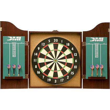 CABSET2010 Recreational Dartboard Rosewood Finish Cabinet Set with Official 18 inch  x 1.5 inch  Bristle Dartboard  Replaceable Chalk Scoreboards  and Two Sets of Steel
